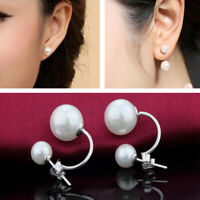 Women's Crystal Ball Pearl Double Side Ear Stud Simulated Earrings Jewelry Gifts
