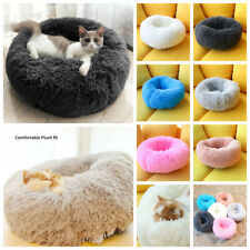 Pet Dog Cat Bed Large Shaggy Fluffy Donut Cuddler Cushion Mats Machine Washable