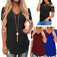 Women's Summer Short Sleeve Blouse Tops Ladies Fashion Loose Casual Tee T-Shirt