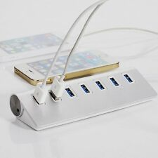 7 Port Aluminum USB 3.0 HUB 5Gbps High Speed AC Power Adapter For PC Laptop Mac