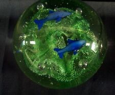 Gorgeous Unknown glass paperweight  - Dolphins swimming - NR -