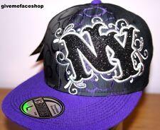 NY BUBBLE FLAT PEAK CAP, NEW YORK FITTED HIP HOP BASEBALL HAT, BLING PURPLE NEW