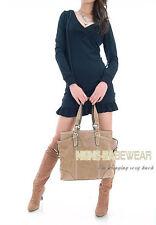 Stylish Black V Neck Hoodie Jumper Mini Dress, Size US 6 (L)