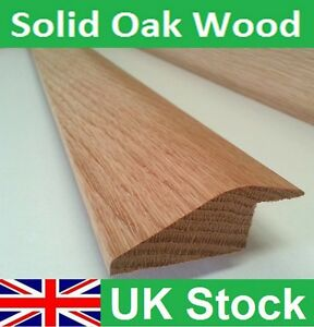Solid Oak Ramp Reducer Threshold Door Bar for Wood to Tiles floor 1 metre length