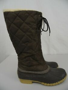 Bean Boots by L.L. Bean - Womens 6 M Brown Sherpa Lined Rubber Tall Winter Boots