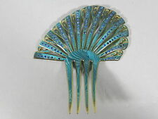 Vintage Blue Celluloid and Rhinestone Fan Shaped Hair Comb