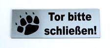 Torschild,Tor bitte schließen,12 x 4 cm,Gravur,Schild,Hundeschild,Hinweisschild
