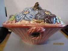 Japan ceramic pottery basket w flower design lid. Majolica style. b66