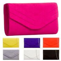 Ladies Faux Suede Envelope Clutch Bag Evening Party  Bag Purse Handbag KL809