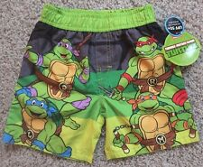 NEW Boys Size 2T TMNT Swim Trunks Shorts Suit Green Pool Beach Ninja Turtles NWT