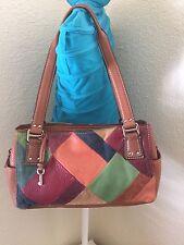 Fossil Blackburn Brown Pebbled Leather Multicolor Patchwork Tote Satchel Handbag