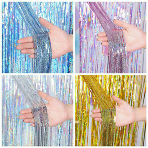 3m Laser Tinsel Curtains Foil Shimmer Streamers Curtain Door Window Party Decor