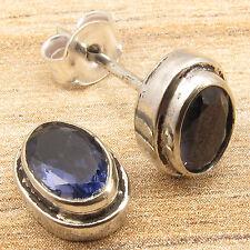 "925 Silver Plated Oval Cut IOLITE Rare Gemstone URBAN STYLE Stud Earrings 0.4"""