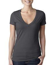 Next Level  Women's Solid CVC Deep-V Neck T-Shirt 6640
