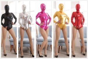 Women Sexy Wet Look Zip Open Crotch Catsuit Bodysuit Full Body Hoods Party Dress