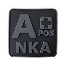 A+ APOS NKA PVC 3D subdued ACU all black blood type morale hook patch