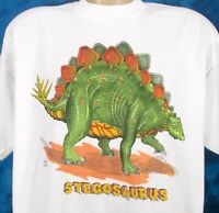 NOS vintage 80s STEGOSAURUS CARTOON DINOSAUR T-Shirt LARGE/XL jurassic park thin