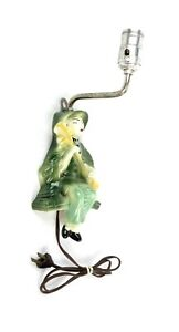 Rare Vintage Mid Century Art Deco Chinese Musician Porcelain Wall Sconce Lamp