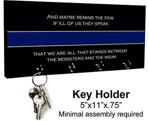 KEY HANGER HOLDER RACK - POLICE #3 Officer Cop Thin Blue Line Flag Gift