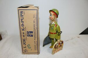Vintage Unique Art G.I.Joe & His K-9 Pups Tin Metal Wind-Up Toy WORKS/NICE W/Box