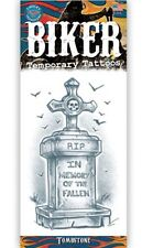 TOMBSTONE BIKER TATTOO 1 PC TEMPORARY FAKE BODY ART GAG NOVELTY TRICK HOBBY