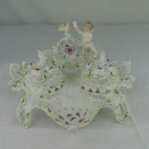 Antique German Porcelain Inkwell with Figural Cherubs / Doves Flowers Rare