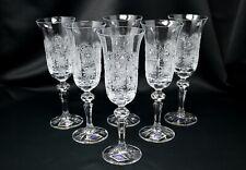 Champagne Crystal Glass set of 6 Wine glass 5oz Hand Cut Bohemia Czech Glass NEW