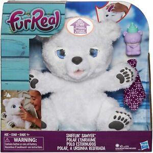 New Hasbro FurReal Friends Snifflin Sawyer Polar Bear Interactive Plush Toy