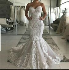 White/Ivory/champagne Mermaid Lace Strapless Sweetheart Wedding Dress Size 6-18
