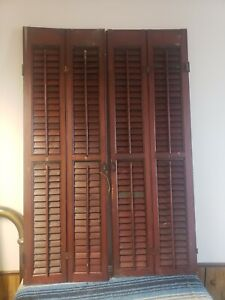 Vintage Wood Louvered Bi-Fold Plantation Shutters Set of 2 architectural salvage