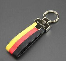 Mercedes Benz AMG Leather Strap Keyring Keychain Key Chain FOB holder metal case