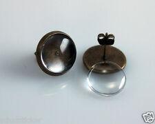 10 Ohrstecker Rohlinge Antik Bronze mit 10mm Cabochons und Verschluß
