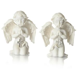 2 Kneeling Angel Figurine with Silver Coloured Crystal Cross Ornaments Memorials