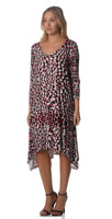 Autograph Ladies 3/4 Sleeve Berry Abstract Print Dress sizes 16 18 20