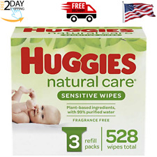 Natural Care Sensitive Baby Wipes, Unscented, 3 Refill Packs (624 Wipes Total)