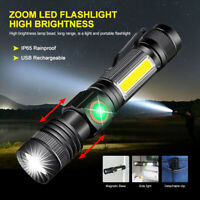 Magnetic Zoomable LED Torch USB Rechargeable Flashlight COB Camping Hiking Lamp