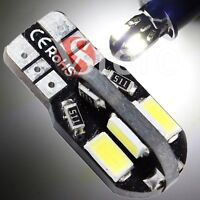 2 Veilleuses LED T10 ampoules 8 smd 5730 Canbus 5W BLANC ANTI ERREUR Lampe Xenon