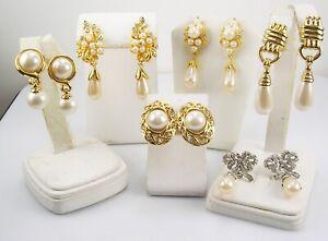 "Faux Pearl & Crystal  CLIP & PIERCED   Earrings  Lot ""F""   6 pairs"