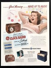 1948 Vintage Print Ad 40's GE General Electric Clock Radio Woman Yawn In Bed Art