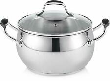 ELITRA Stainless Steel Casserole Pot & Glass Lid for All Stovetops 3 Qt Silver