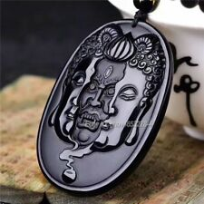 Natural Black Obsidian Carved Buddha Ghost Lucky Amulet Pendant + Beads Necklace