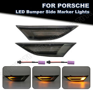 Sequential Smoked LED Side Marker Lights For Porsche 991 718 Cayman Boxster 981
