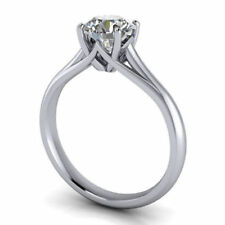 Engagement Ring 925 Sterling Silver 1.76 Ct Round Cut Colorless Moissanite