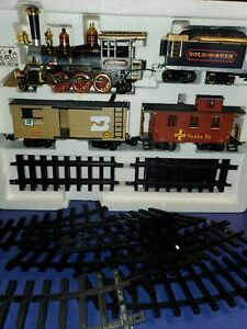 Gold rush express train set with lights whistles over 18' of track