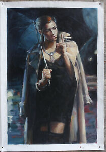 Hand-painted oil painting on canvas figures morden city girl with umbrella 24x36