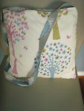 HANDMADE MAGIC TREES  PRINT COTTON  BLUE  Tote Shoulder Bag  13.5ins
