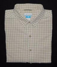 COLUMBIA Men's Beige White Check Short Sleeve Button Down Shirt Size Medium