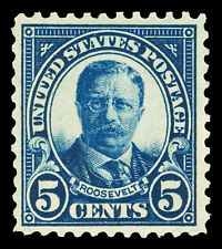 Scott 557 1922 5c Roosevelt Perforated 11 Flat Plate Issue Mint VF OG NH Cat $35