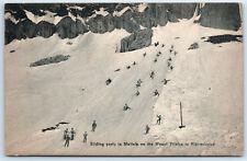 Sliding Skiing Party Mattalp Mount Pilatus Early 1900s RP Postcard Switzerland