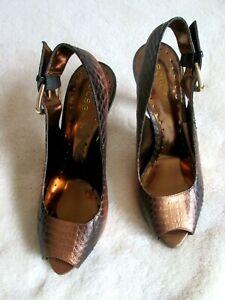 BCBGIRLS FERNANDO 8M Brown Bronze Snake Print Leather Slingback Peep Toe HEELS